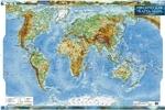 Физическая карта мира, м-б 1:35 000 000 (ламинированная, на планках)