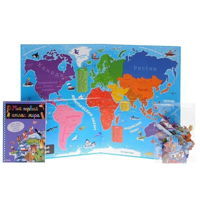"""Купить книгу """"Мой первый атлас мира (+ 87 магнитов и большая карта мира)"""""""