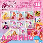 Винкс. Настольная игра Домино + 18 puzzle mini