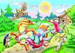 Кот, Лиса и Петух. Пазл, 35 элементов