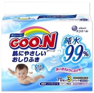 """Купить """"Вологі серветки Goo.N для чутливої шкіри, 3 блока по 70 шт. (733777)"""""""