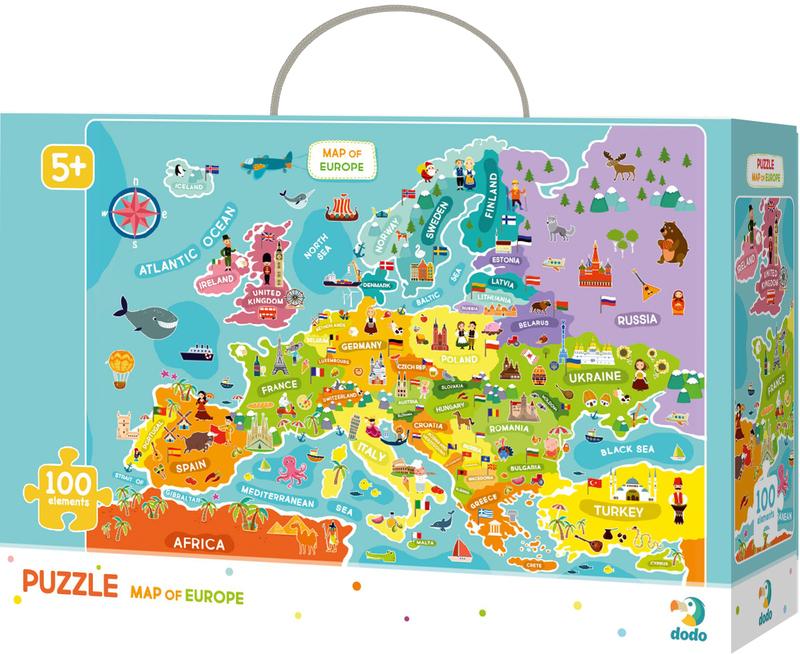 """Купить """"Пазл. Dodo. Map of Europe / Мапа Європи. 100 элементов (300124)"""""""