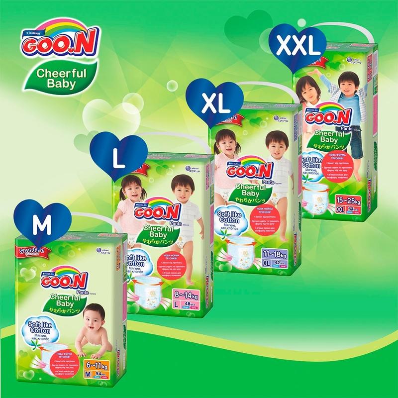 """Купить """"Підгузки-трусики Goo.N Cheerful Baby для дітей, 11-18 кг, 42 шт. (843286)"""""""
