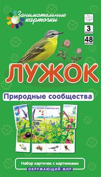 """Купить книгу """"Лужок. Природные сообщества. Окружающий мир (набор из 48 карточек)"""""""